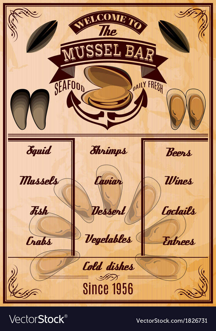 Menu template with mussels for seafood restaurant vector | Price: 1 Credit (USD $1)