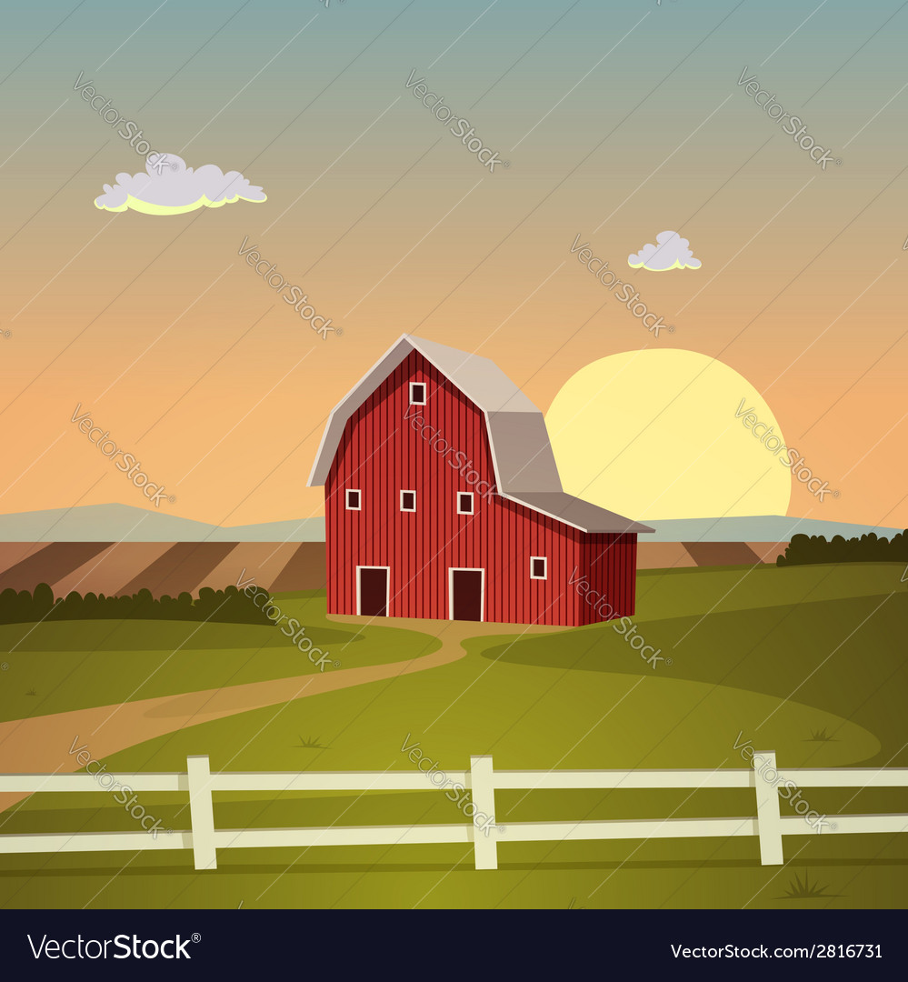 Red farm barn vector | Price: 3 Credit (USD $3)