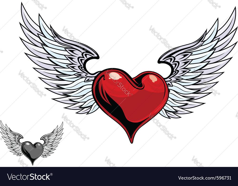Retro heart wings vector | Price: 3 Credit (USD $3)