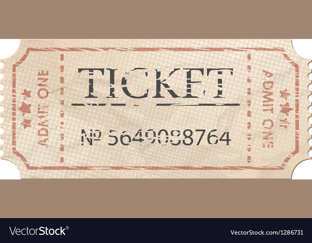 Ticket admit one vintage one eps 8 vector | Price: 1 Credit (USD $1)