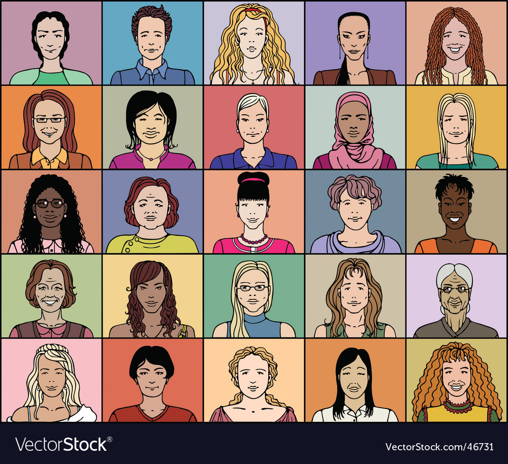 Twenty five adult woman vector | Price: 3 Credit (USD $3)