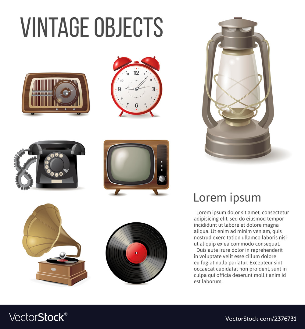 Vintage objects vector | Price: 1 Credit (USD $1)