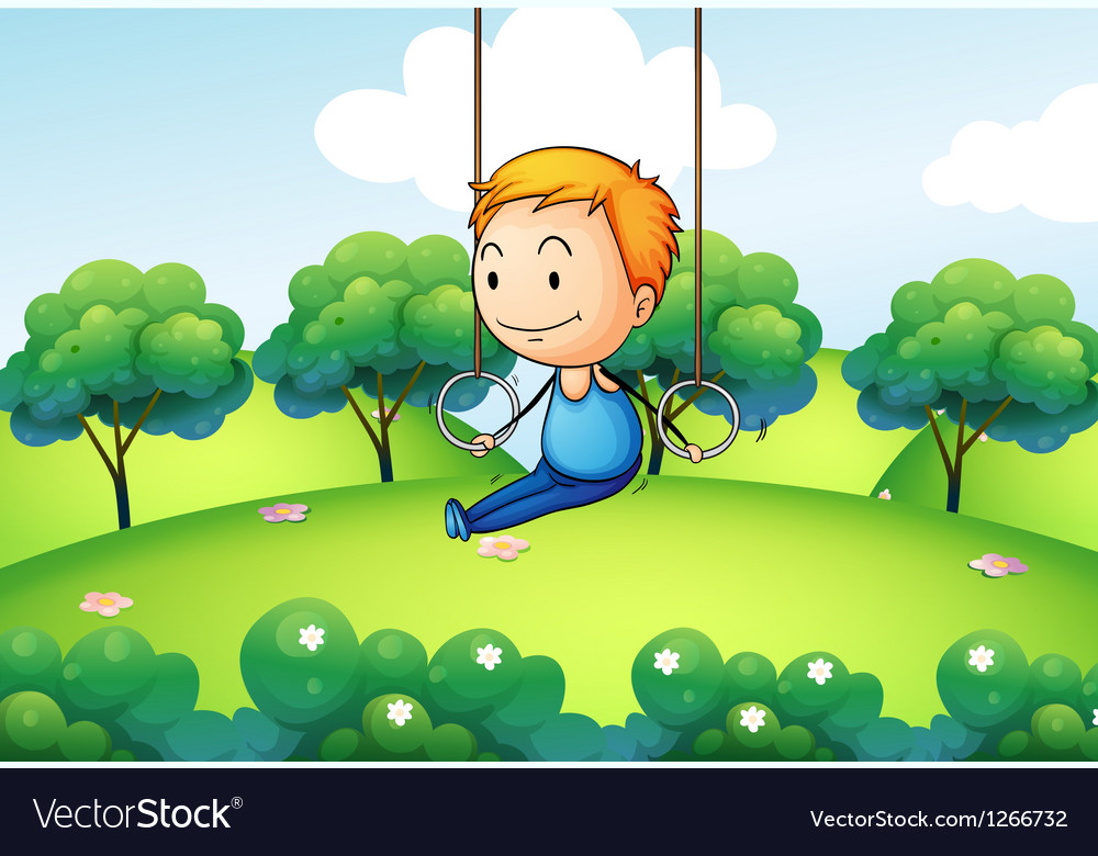 A boy exercising at the hill vector | Price: 1 Credit (USD $1)