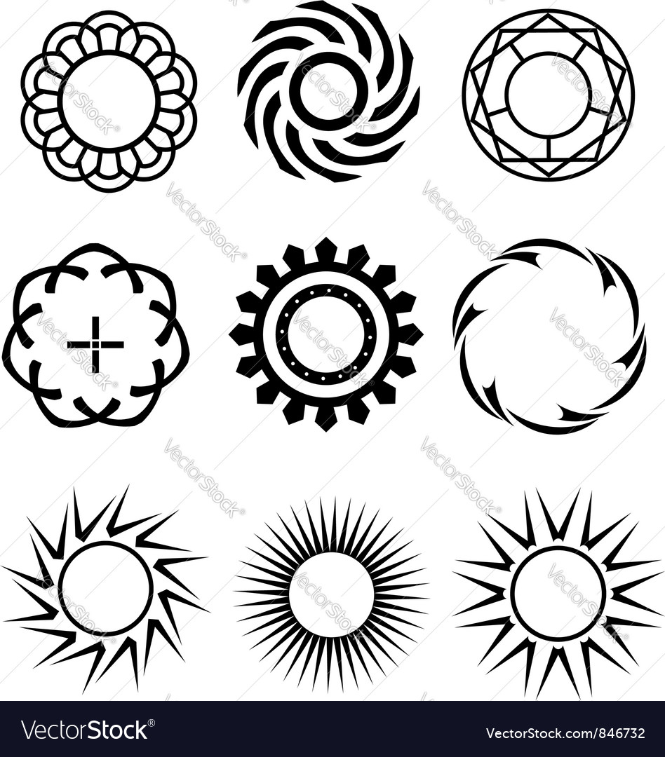 Black circle design elements 1 vector | Price: 1 Credit (USD $1)