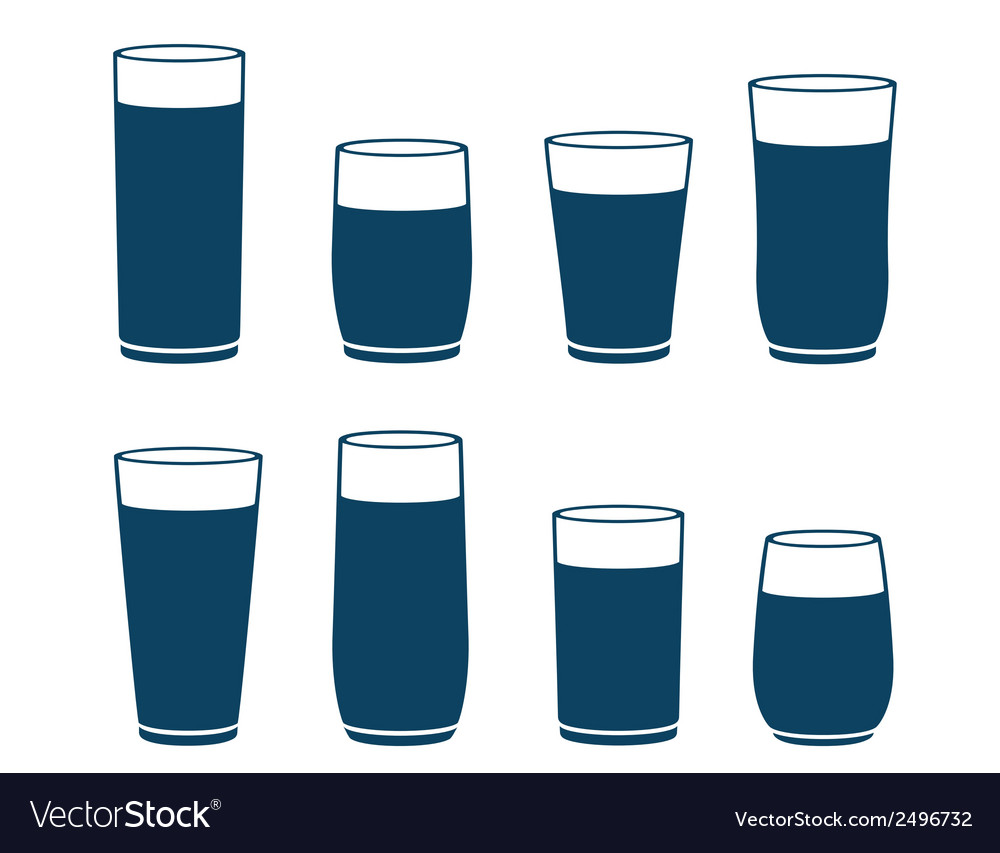 Blue water glass set vector | Price: 1 Credit (USD $1)