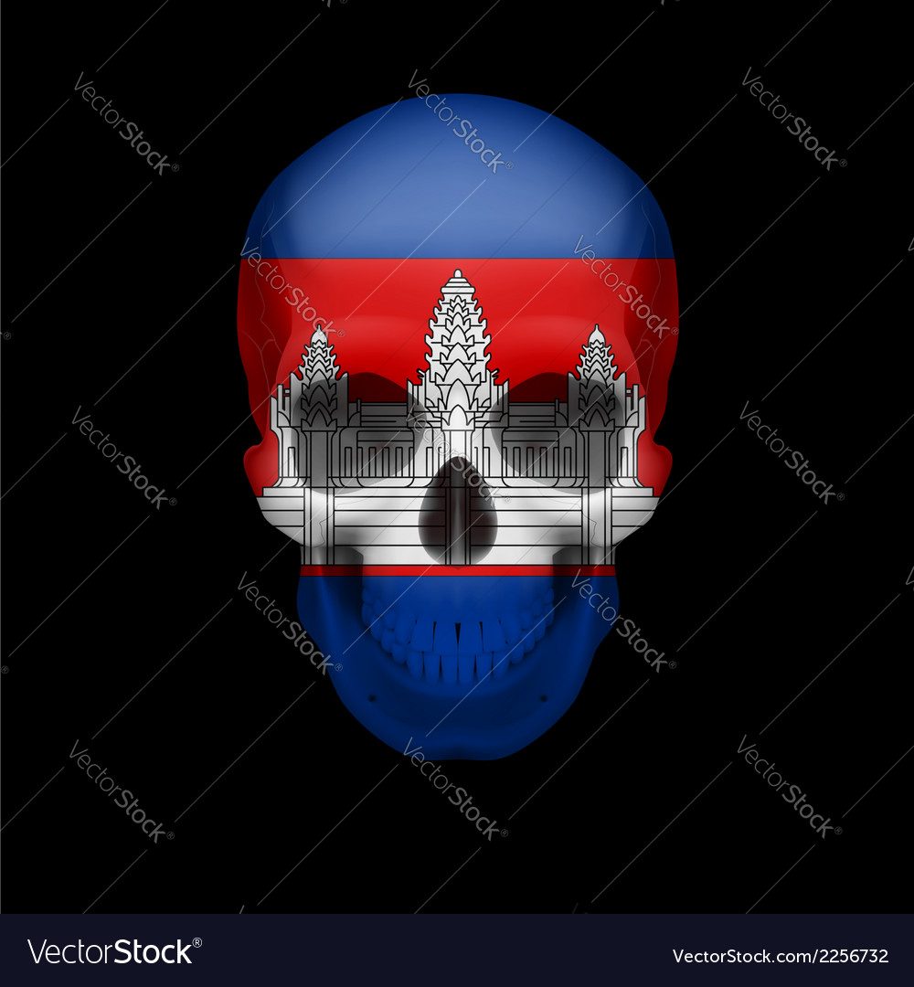 Cambodian flag skull vector | Price: 1 Credit (USD $1)