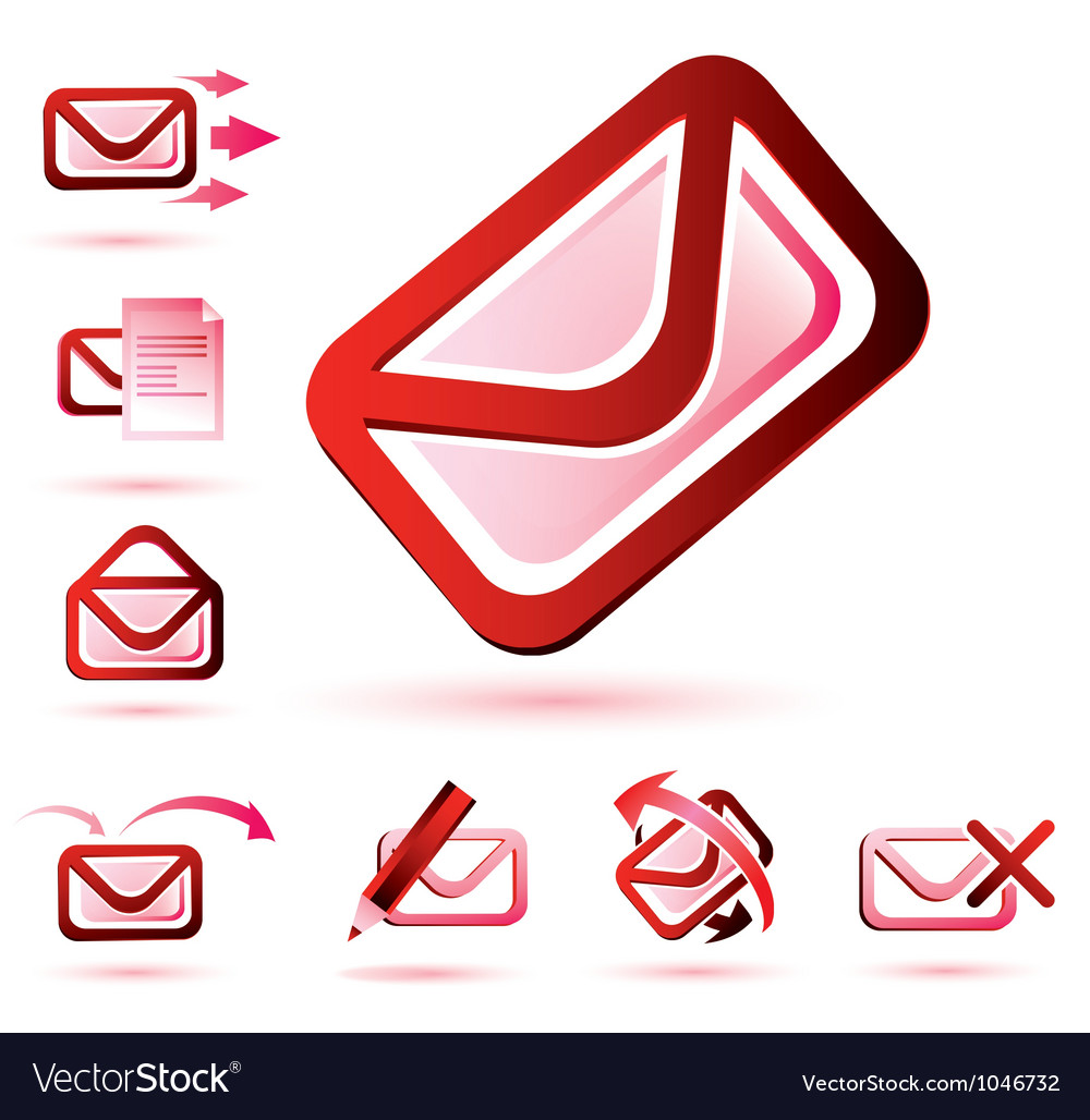 Email icons set isolated glossy symbols vector | Price: 1 Credit (USD $1)