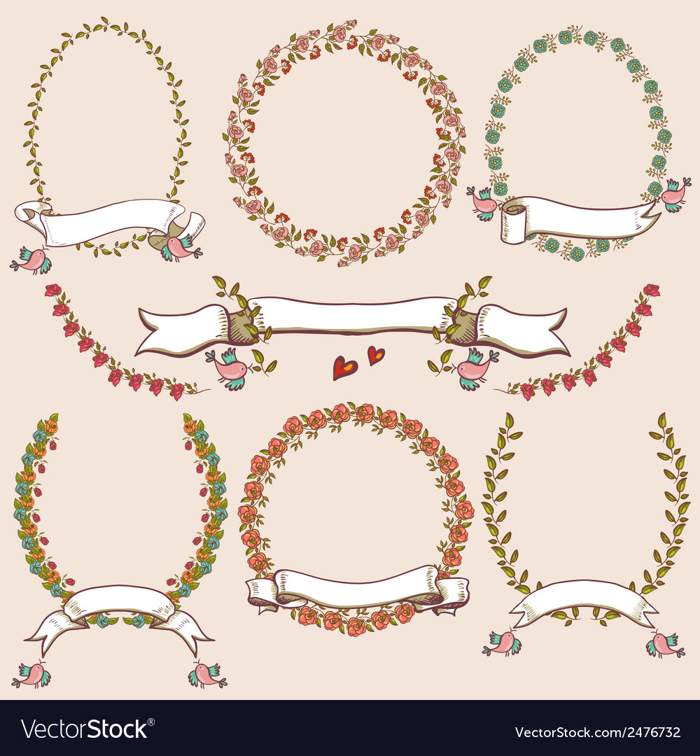 Floral laurels ribbons wreaths vector | Price: 1 Credit (USD $1)