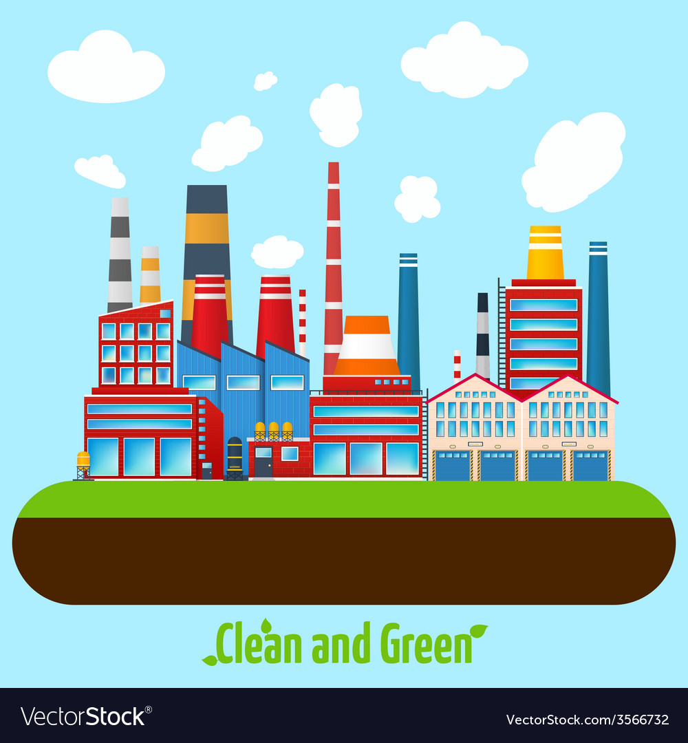 Green industry poster vector | Price: 3 Credit (USD $3)