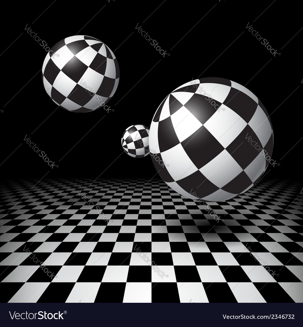 Magic balls over the checkered floor vector | Price: 1 Credit (USD $1)