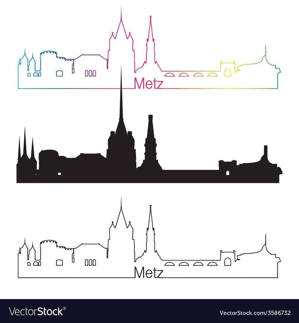 Metz skyline linear style with rainbow vector | Price: 1 Credit (USD $1)