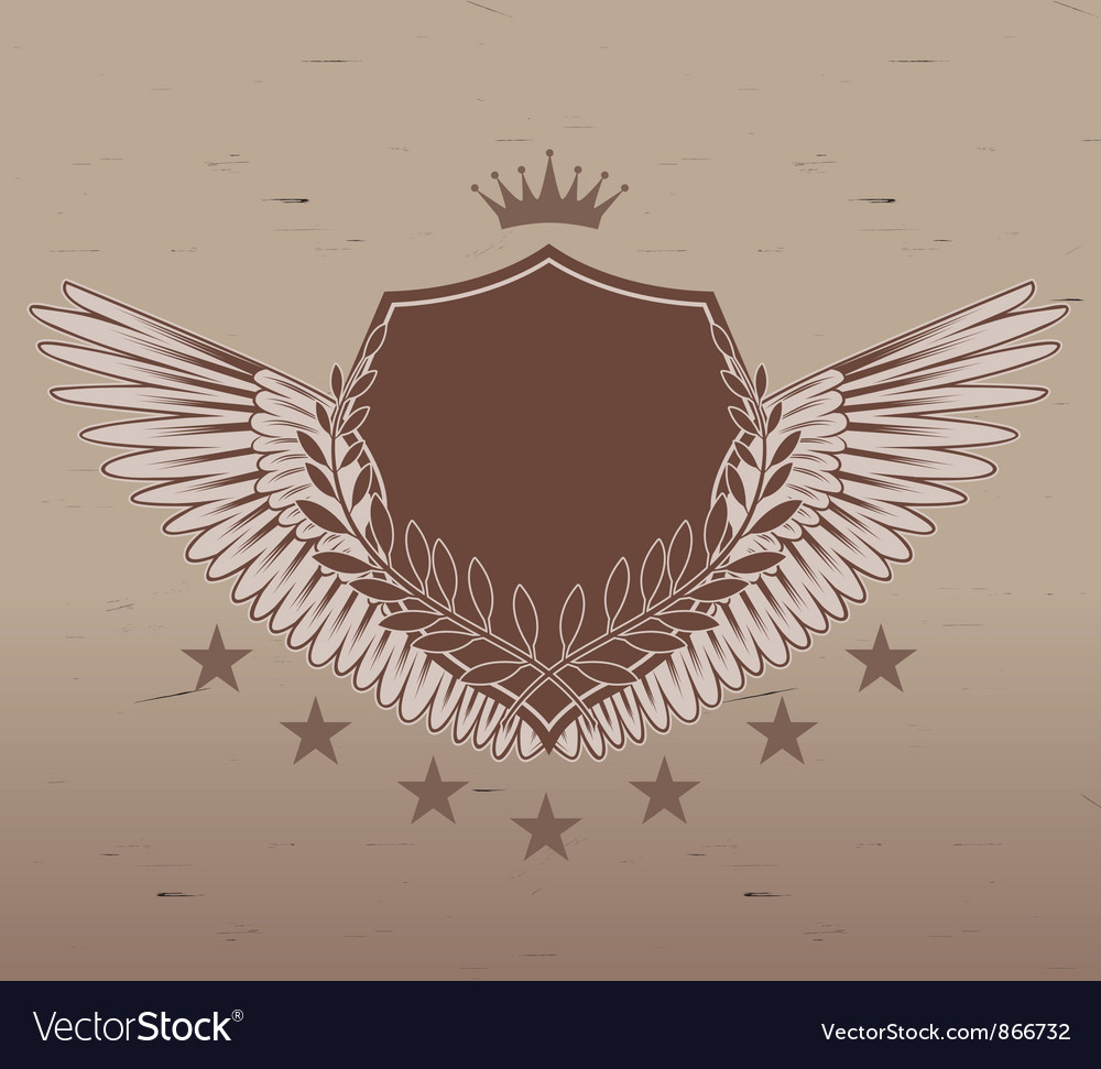 Vintage emblem with shield vector | Price: 1 Credit (USD $1)