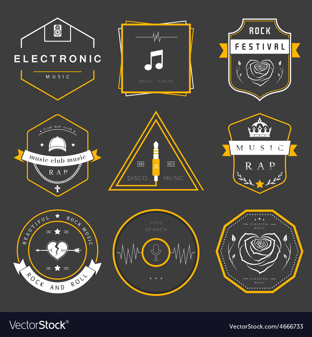 Badges rock rap classical and disco music vector | Price: 1 Credit (USD $1)
