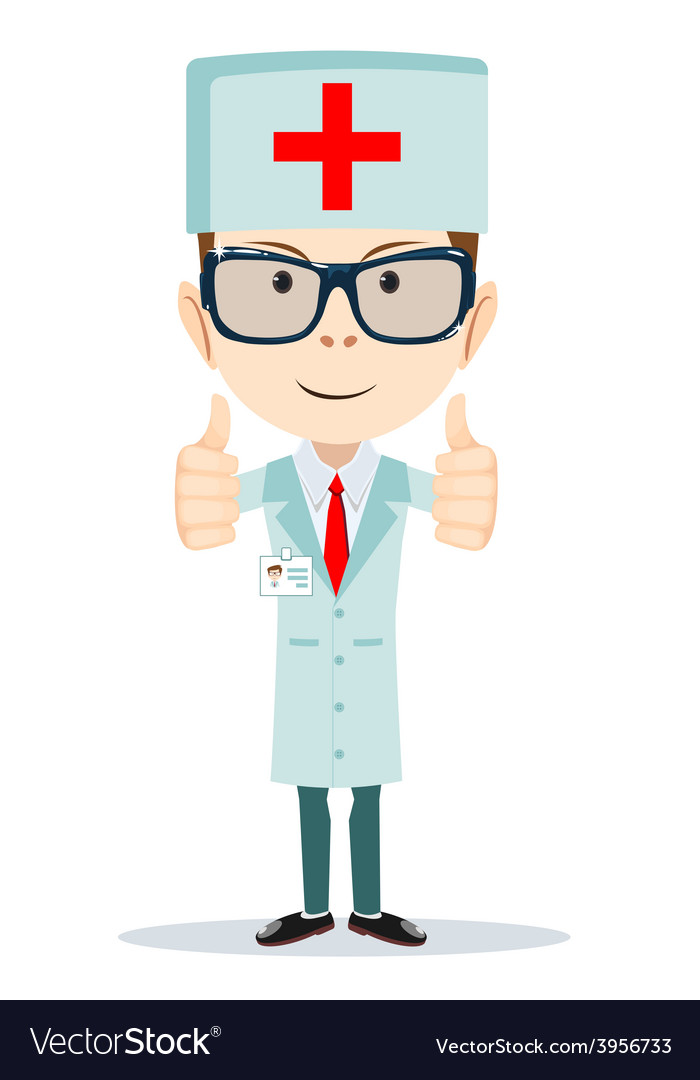 Cartoon doctor showing everything is ok vector | Price: 1 Credit (USD $1)