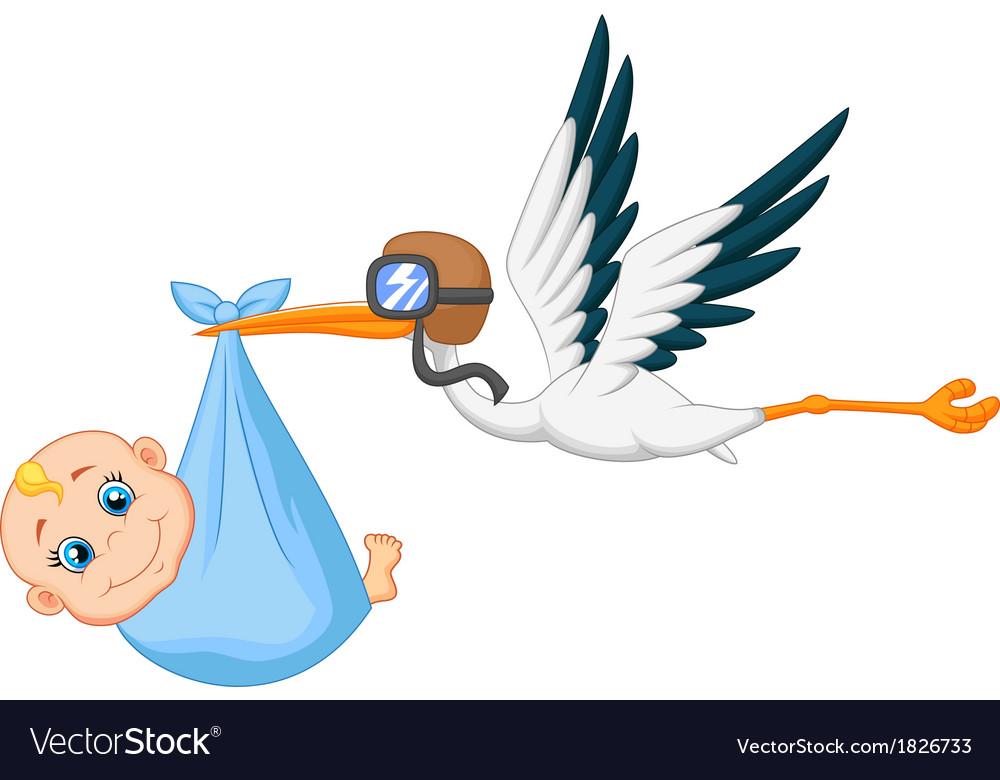 Cartoon stork carrying baby vector | Price: 1 Credit (USD $1)