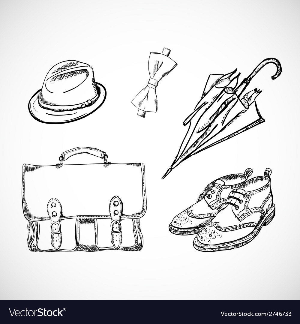 Gentleman sketch handdrawn set vector | Price: 1 Credit (USD $1)