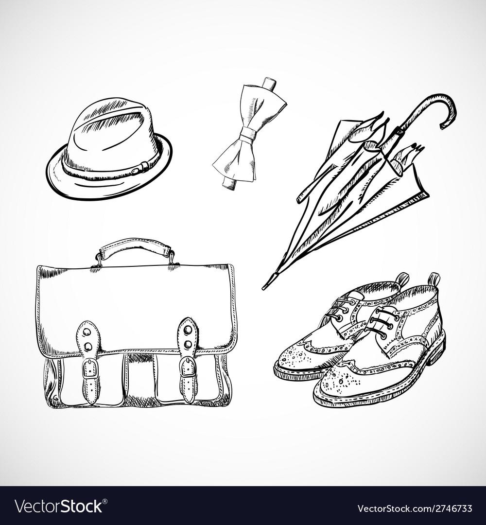Gentleman sketch handdrawn set vector | Price: 1 Credit (USD $1)