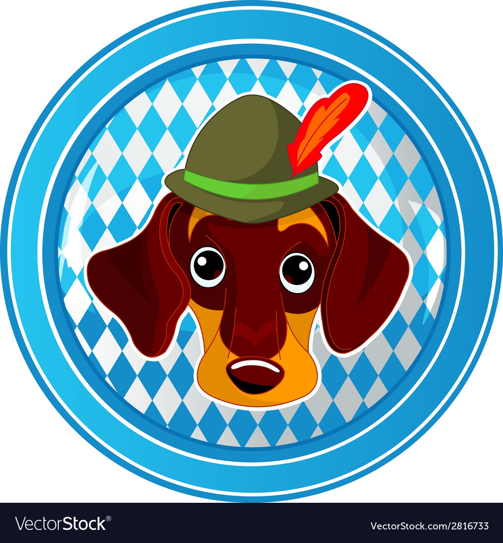 Oktoberfest circle dog button vector | Price: 1 Credit (USD $1)