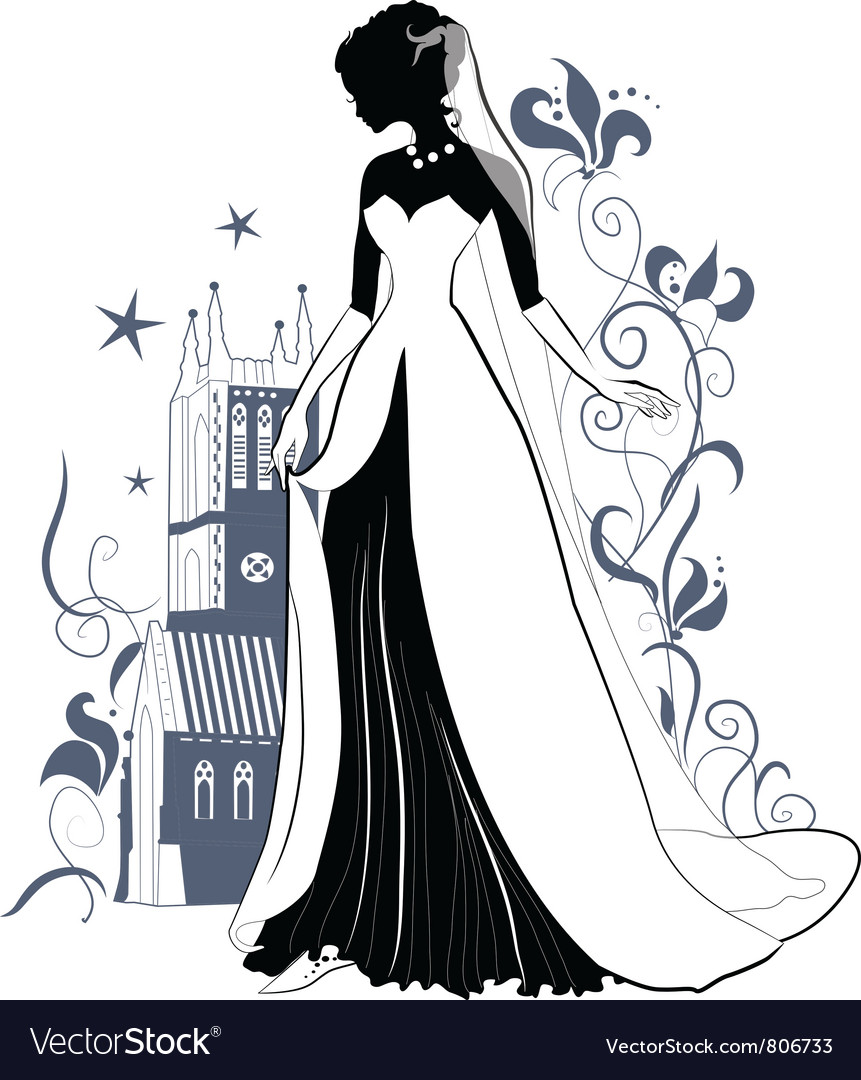 Ornate bride silhouette vector | Price: 1 Credit (USD $1)