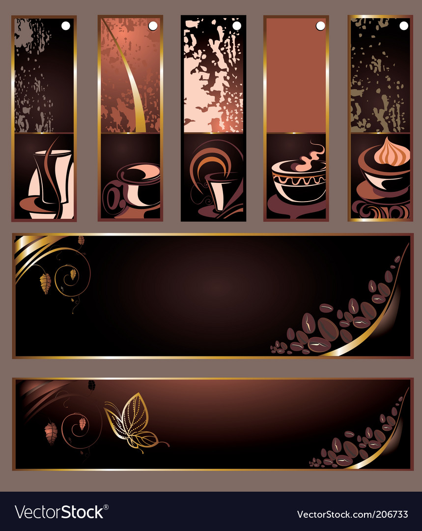 Set of coffee tea banners vector | Price: 1 Credit (USD $1)