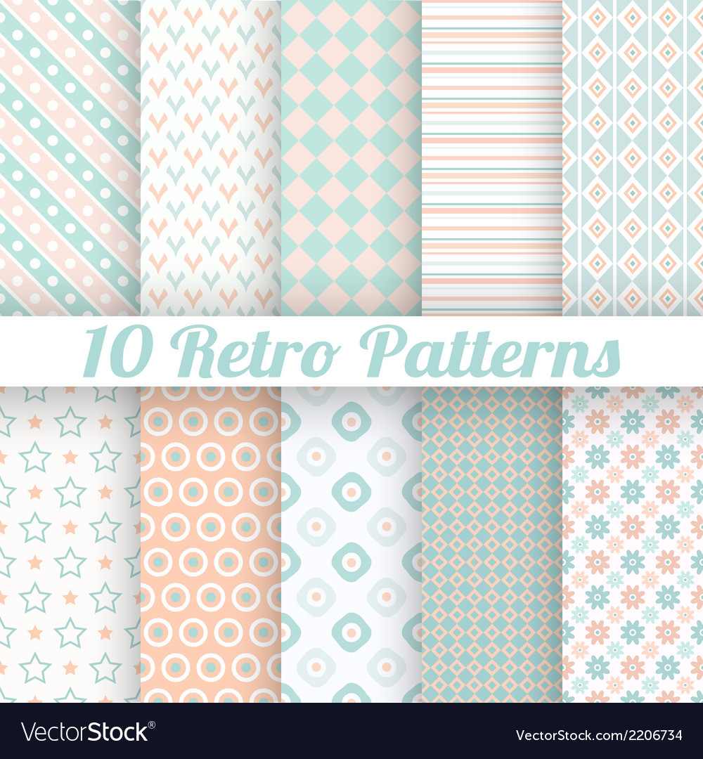 10 pastel retro different seamless patterns tiling vector | Price: 1 Credit (USD $1)