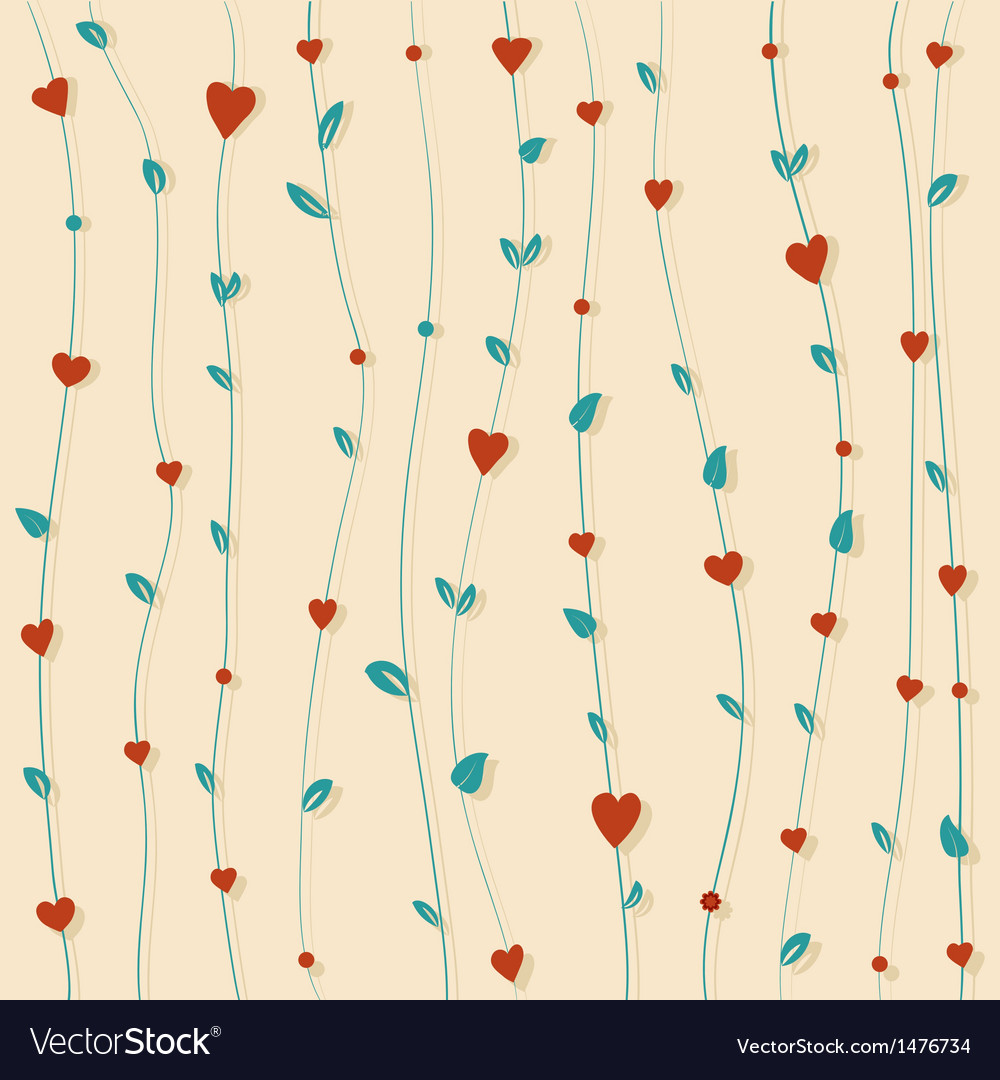 Abstract floral background with hearts and flowers vector | Price: 1 Credit (USD $1)