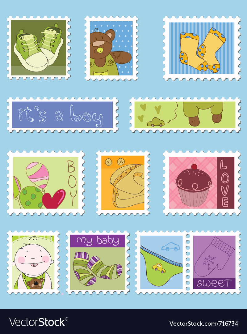 Baby boy postage stamps vector | Price: 1 Credit (USD $1)