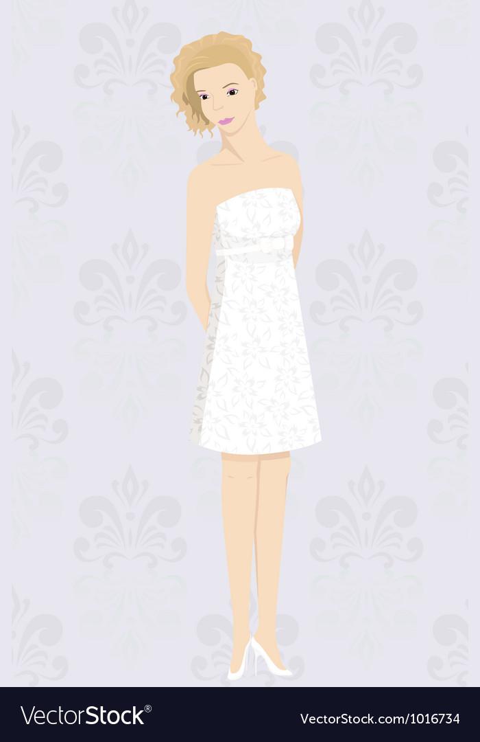 Bride in mini dress vector   Price: 1 Credit (USD $1)