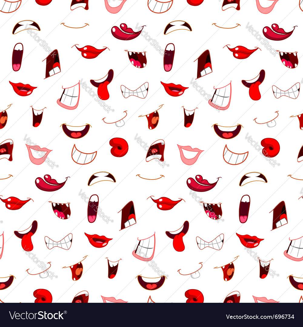 Cartoon mouths pattern vector | Price: 1 Credit (USD $1)
