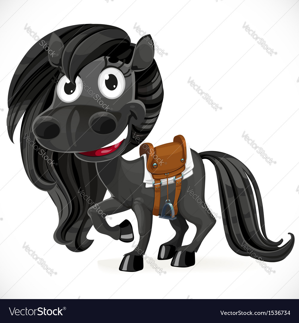 Cute cartoon black baby horse vector | Price: 3 Credit (USD $3)