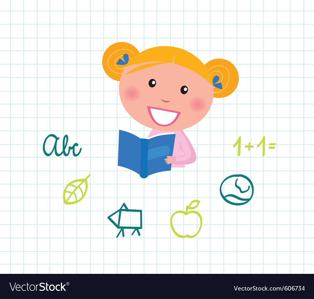 Cute child reading vector | Price: 1 Credit (USD $1)