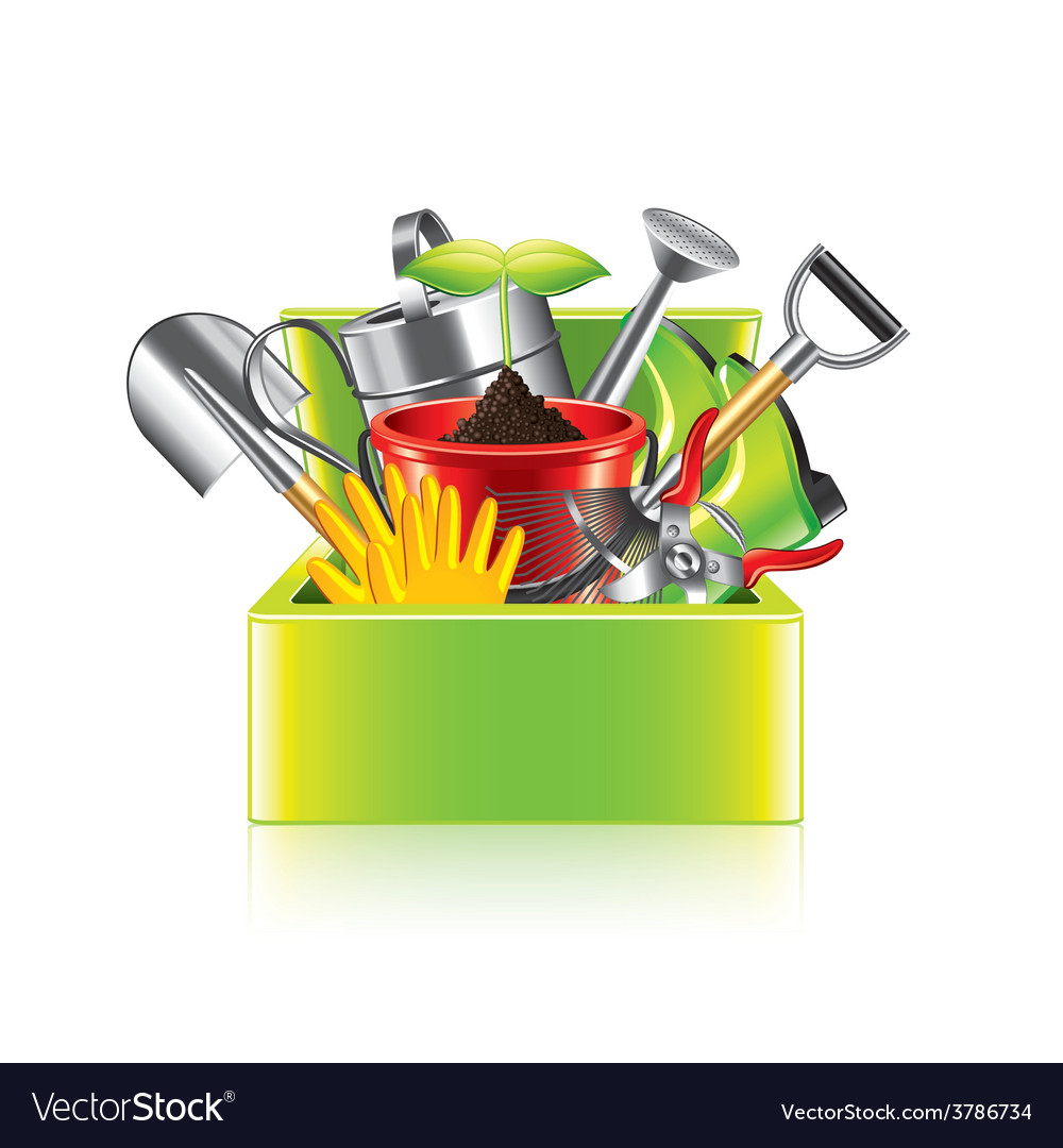 Garden tools box isolated vector | Price: 3 Credit (USD $3)