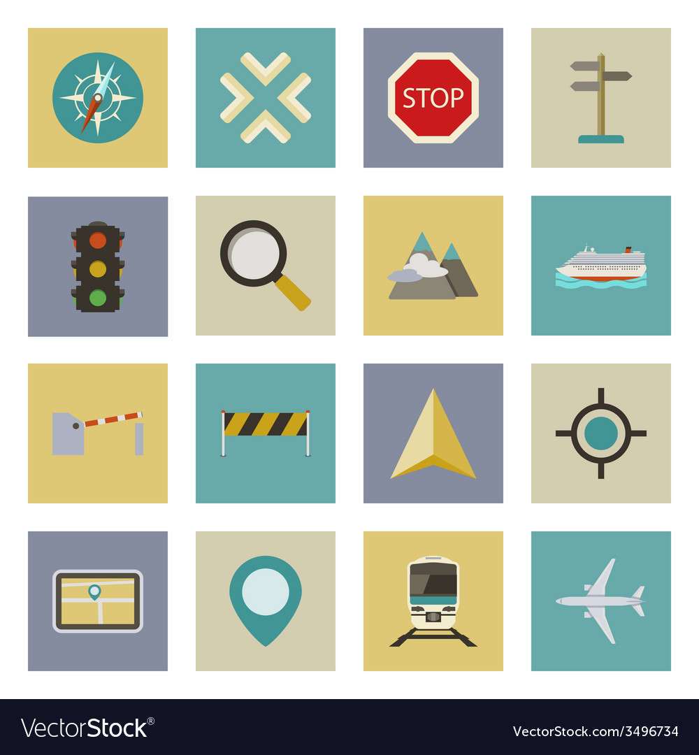 Gps and navigation flat icons set vector | Price: 1 Credit (USD $1)