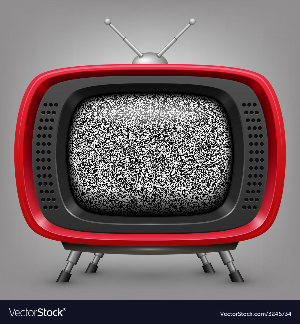 Retro red tv with noise vector | Price: 1 Credit (USD $1)