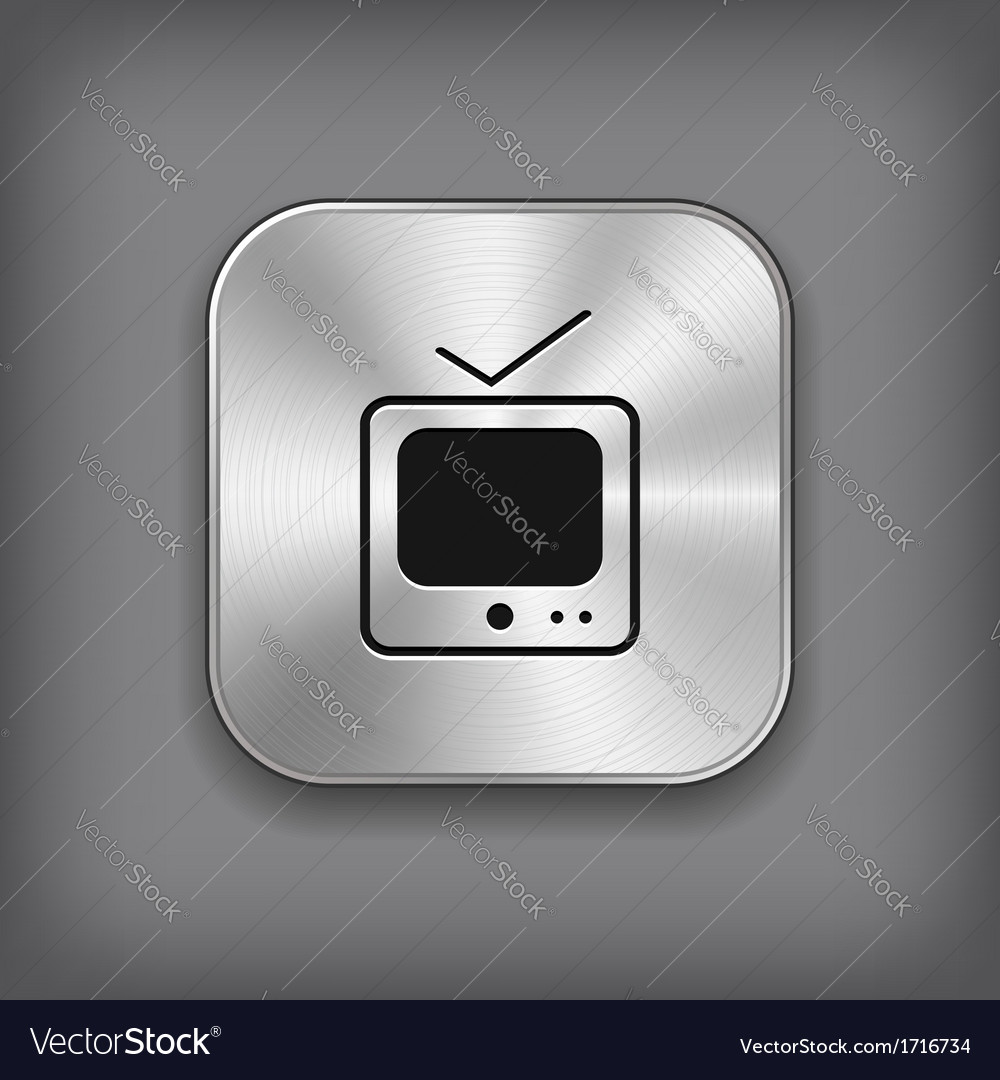 Tv icon - metal app button vector | Price: 1 Credit (USD $1)