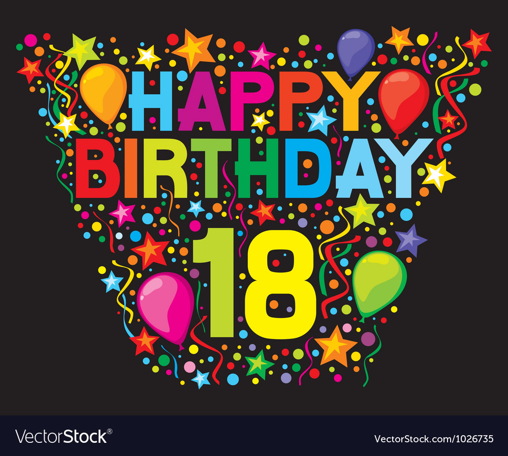 18th birthday card vector | Price: 1 Credit (USD $1)