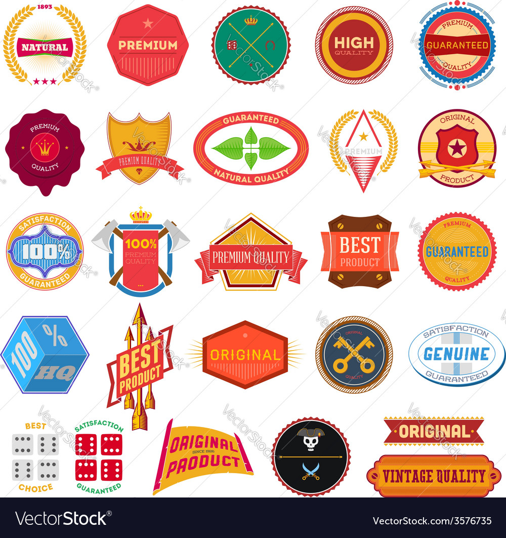 Big set of flat colored vintage labels vector | Price: 1 Credit (USD $1)