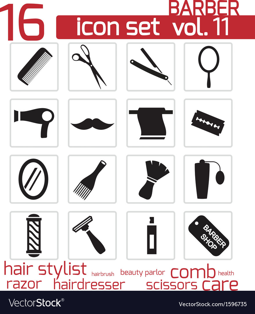 Black barber icon set vector | Price: 1 Credit (USD $1)