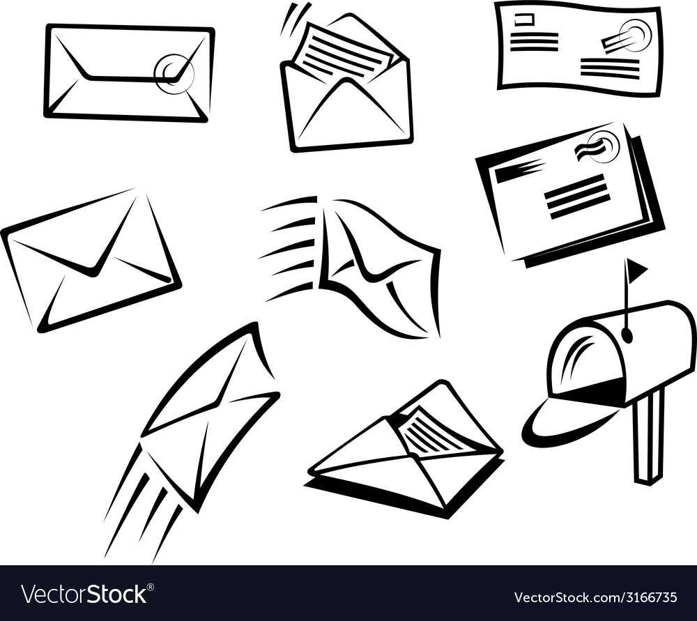Envelopes and mail symbols vector | Price: 1 Credit (USD $1)