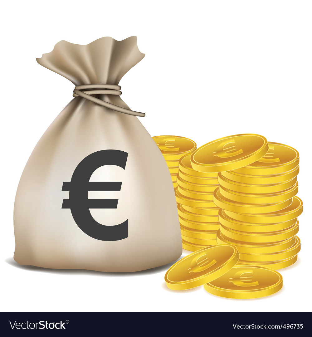 Euro bag coins vector | Price: 1 Credit (USD $1)
