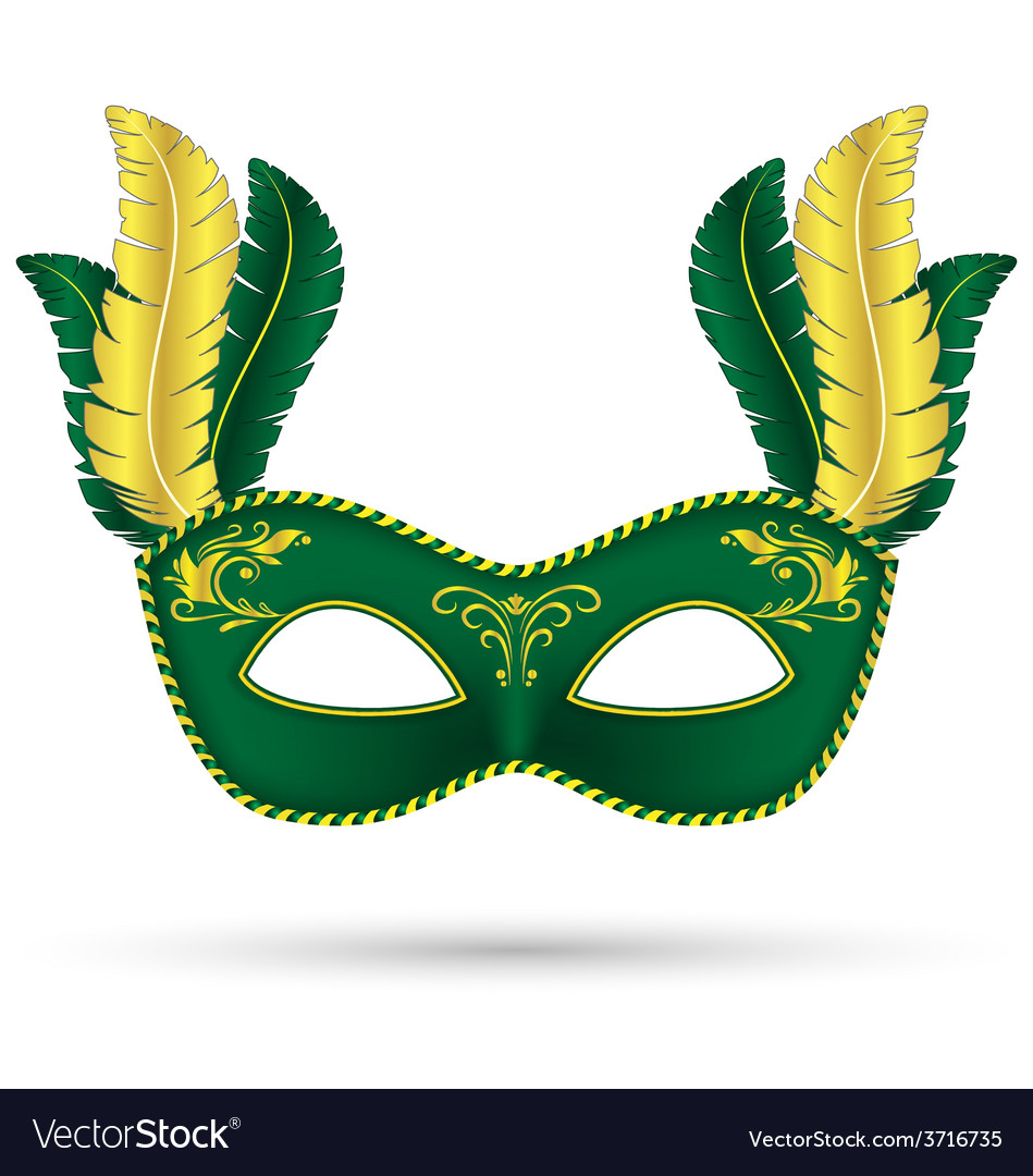 Green mask with feathers vector | Price: 1 Credit (USD $1)