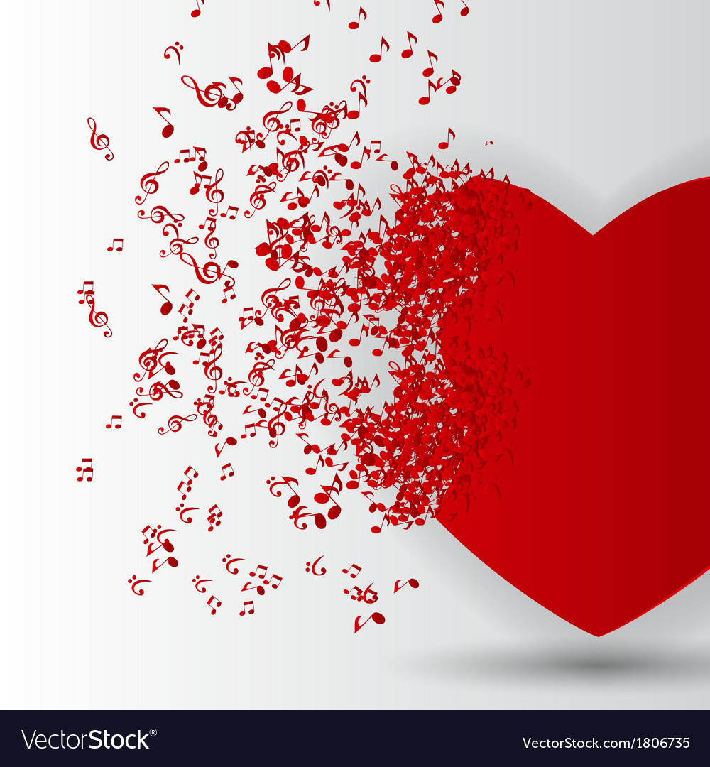 Happy valentines day card with heart music notes vector | Price: 1 Credit (USD $1)