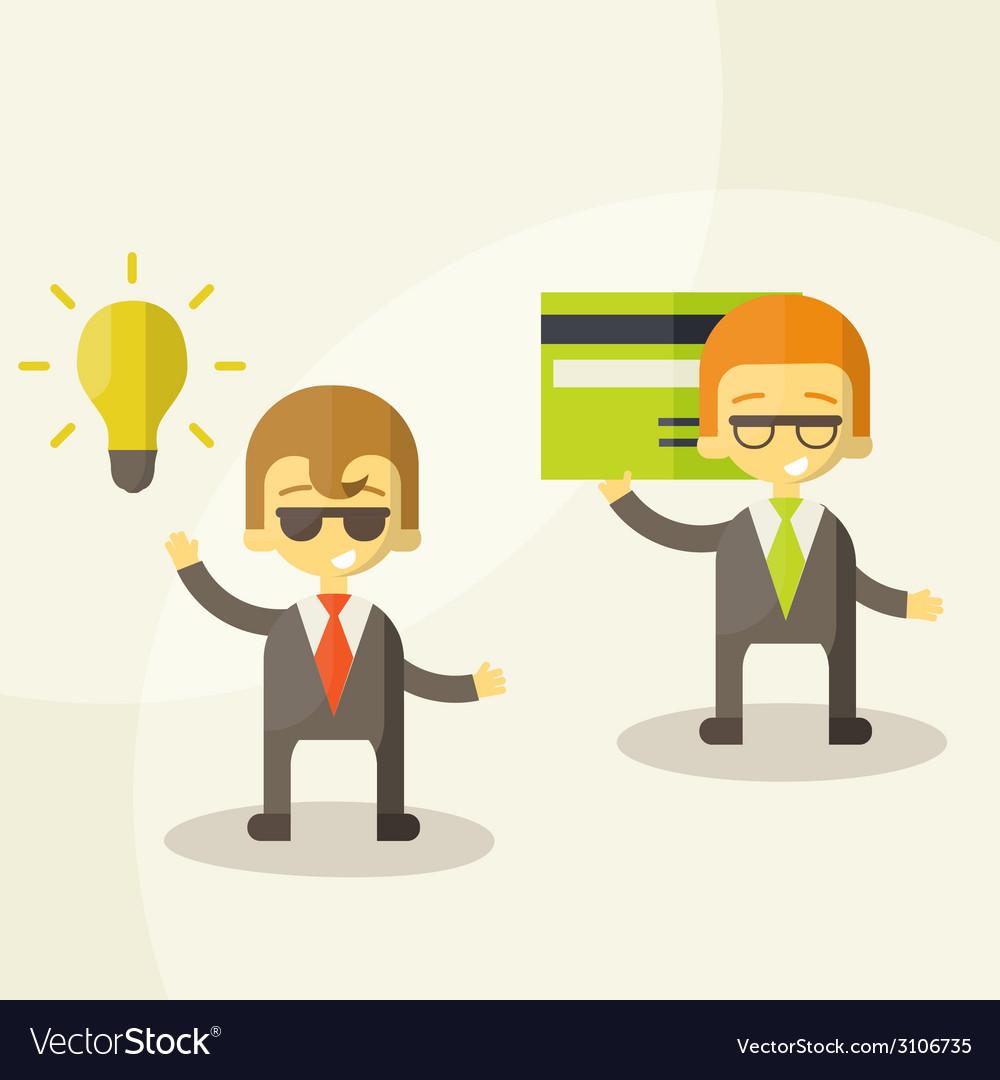 Lamp of idea concept businessman partners vector | Price: 1 Credit (USD $1)