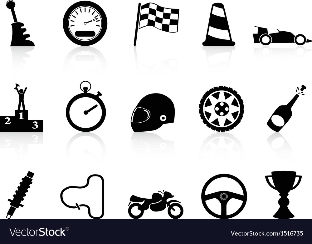 Motor race icons set vector