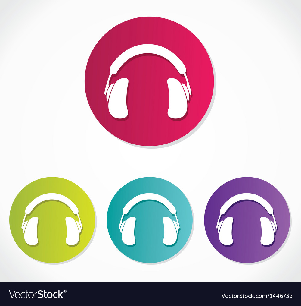Music headphones icons vector | Price: 1 Credit (USD $1)