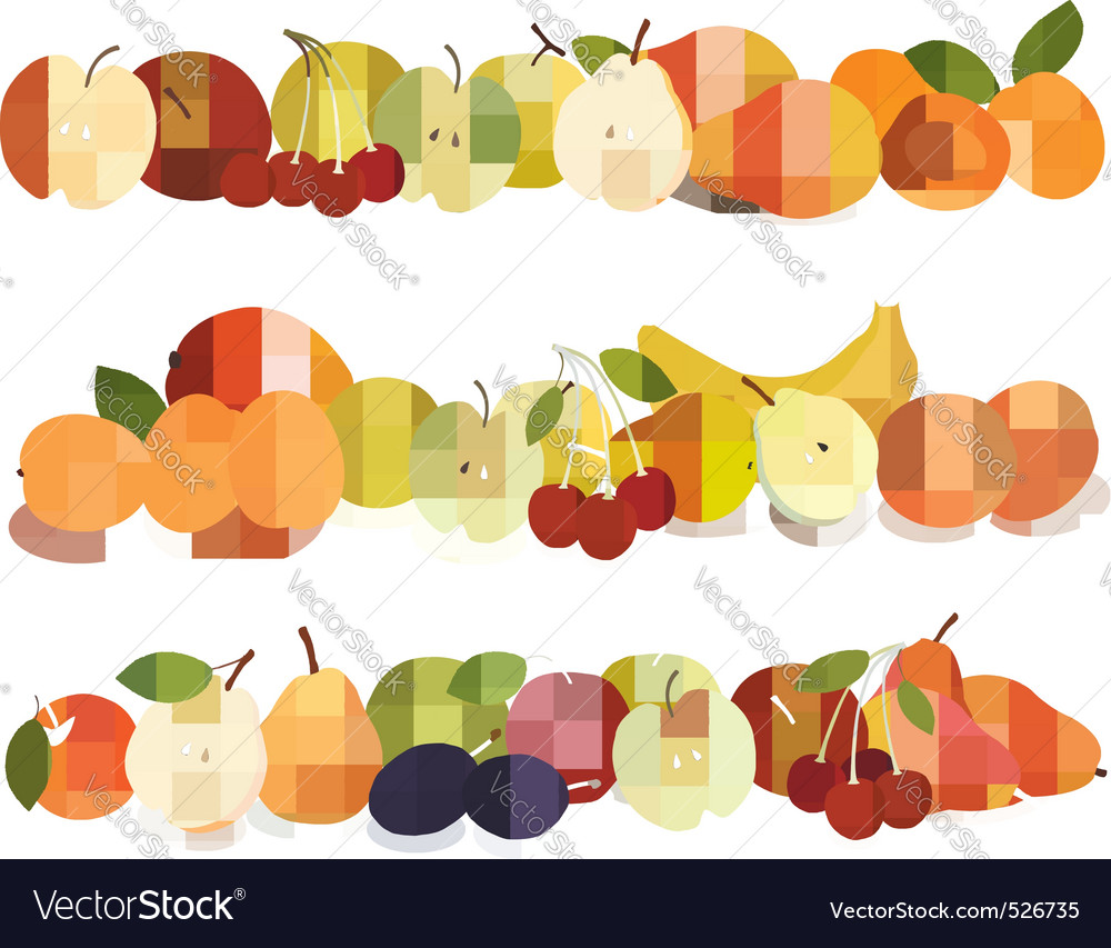 Set of fruits backgrounds vector | Price: 3 Credit (USD $3)