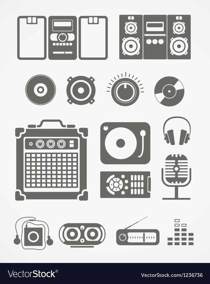 Audio equipment icons collection vector | Price: 1 Credit (USD $1)