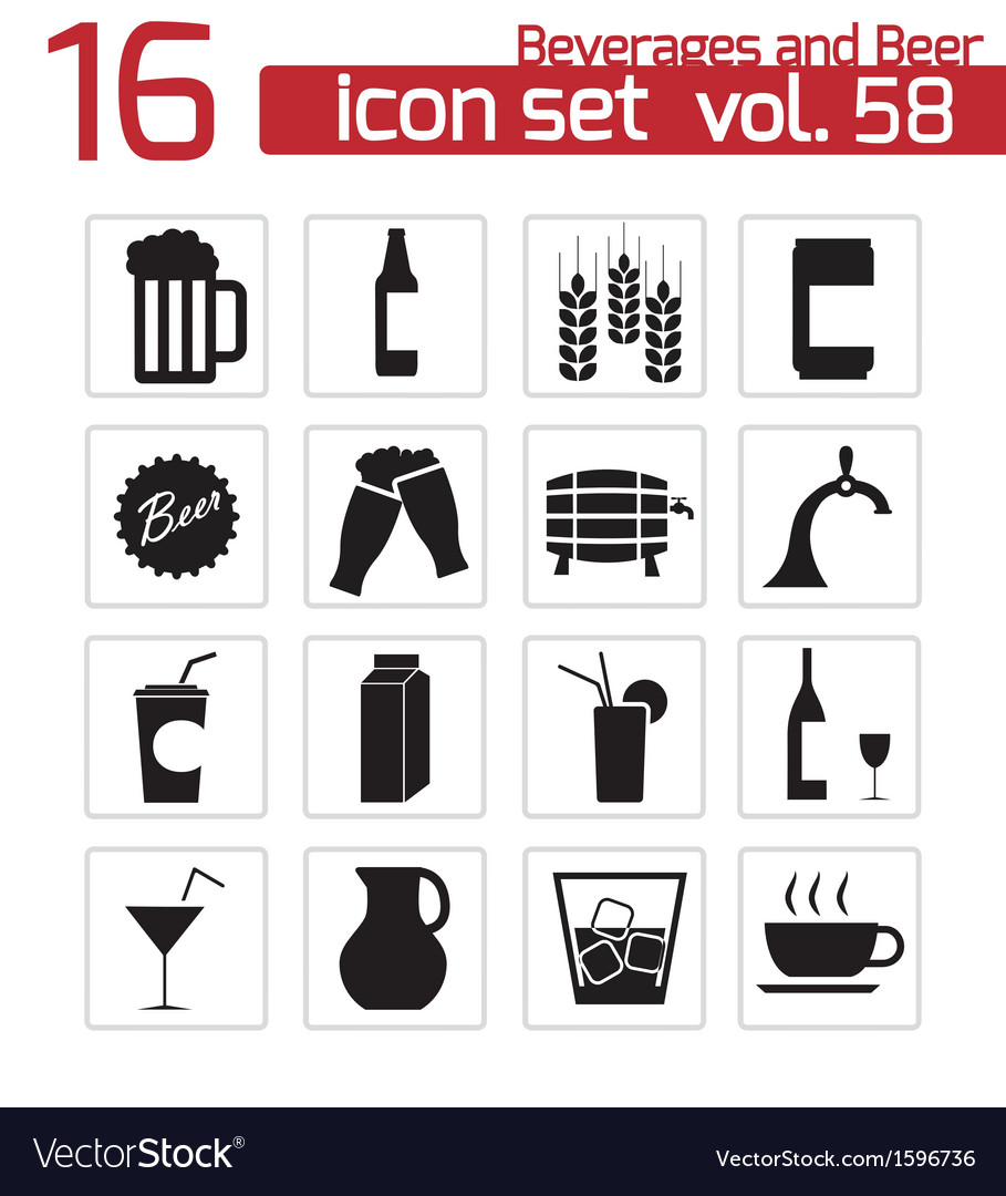 Black beer and beverage icons set vector | Price: 1 Credit (USD $1)