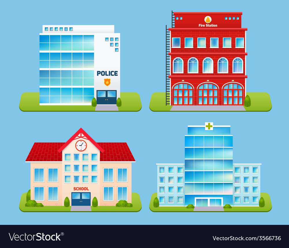 Buildings emblems set vector | Price: 3 Credit (USD $3)