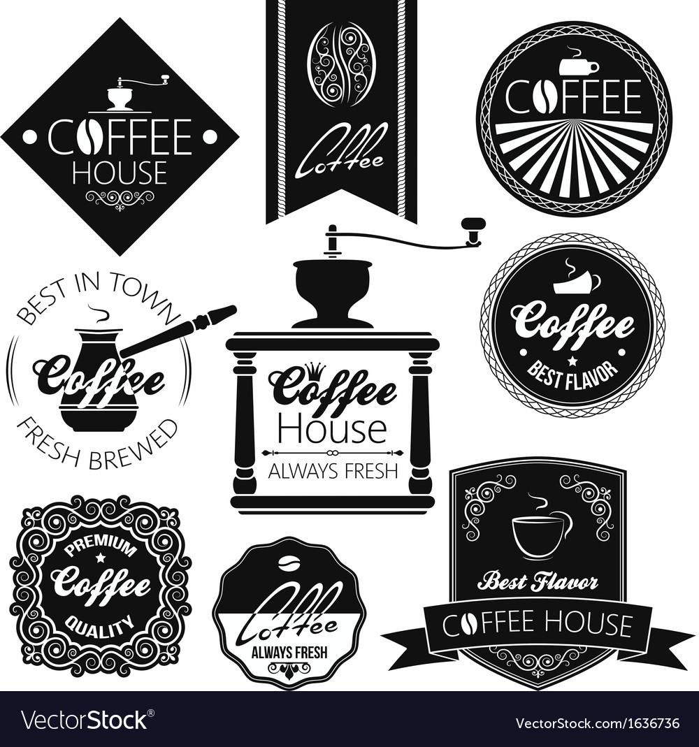 Coffee set labels vector | Price: 1 Credit (USD $1)